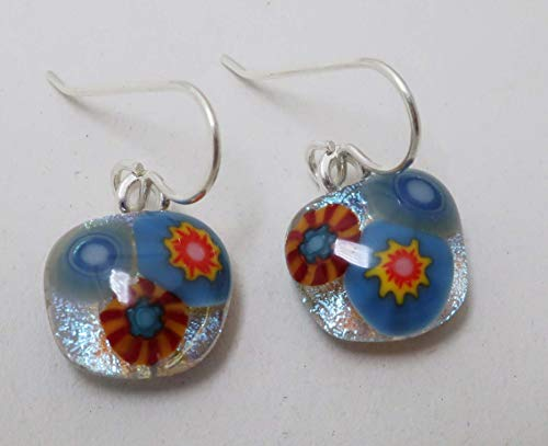 Petite Flower bouquet red blue fused dichroic glass earrings sterling silver ear wires #317