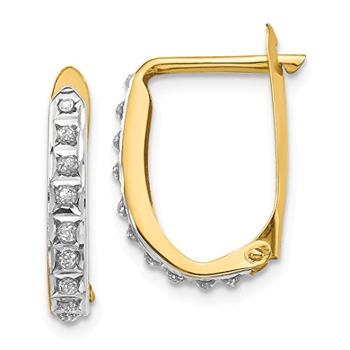 14k Yellow Gold Diamond Fascination Leverback Hinged Hoop Earrings Lever Back Fine Jewelry For Women Gift Set
