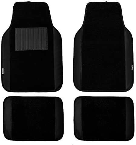 FH Group F14408BLACK Universal Fit Carpet Floor Mat (with Faux Leather for Cars, Coupes, Small SUVs), Black
