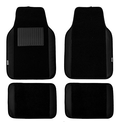 FH Group Black Universal Fit Carpet Floor Mats with Faux Leather for Cars, coupes, Small suvs F14408BLACK ()