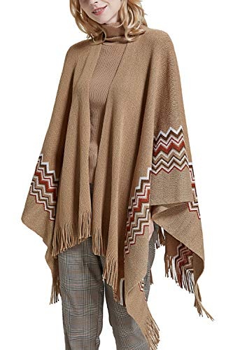 (Women Poncho Shawl Cardigan Open Front Elegant Cape Wrap)