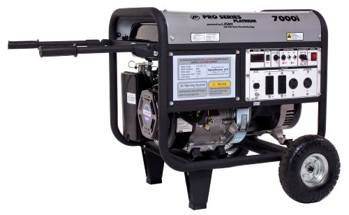Contractor Generator - Lifan Platinum Series LF7000iPL 7000 Watt Comercial/Contractor 13 HP 389cc OHV Gas Powered Portable Generator with Recoil Start and Wheel Kit and Never-Flat Foam Filled Tires