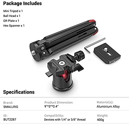 Color : Color2 HUIFANGBU Pocket Mini Metal Desktop Tripod Mount with 360 Degree Ball Head for DSLR /& Digital Cameras 11-21cm Adjustable Height