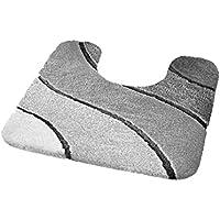 Kleine Wolke Wave Silver Grey Bathroom contour/pedestal Rugs (21.7 X 21.7in)