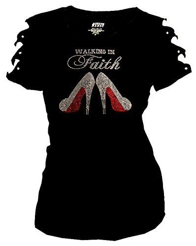 In Faith Bling Rhinestones T-Shirt Ripped Cut Out Short Easter (3X-Large)