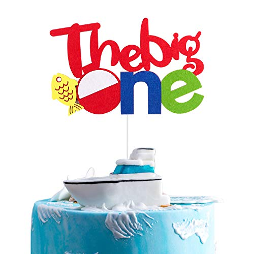 BeYumi Gone Fishing Inspired 1st Birthday Cake Topper, The Big One Party Cake Decoration Supplies ()