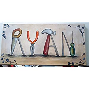 Personalized Boy name painting, tools, sports, custom name art