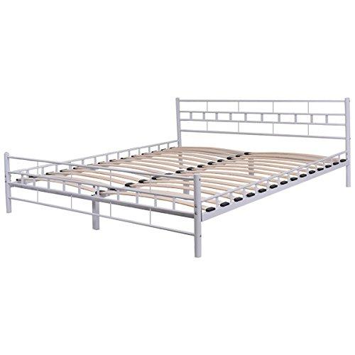 Giantex Wood Slats Bed Frame Platform Headboard Footboard Furniture (Queen, White) by Giantex