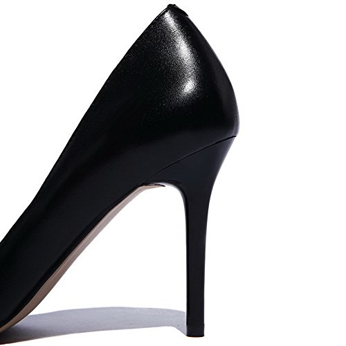Closed Soft Shoes Spikes Toe Womens Pointed On Solid Pull Stilettos Pumps AmoonyFashion Material Black xZfIwq