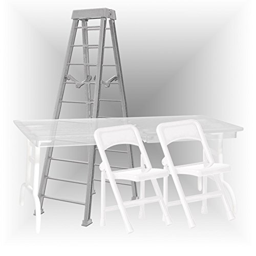 Ultimate Ladder, Table and Chairs Silver Playset for WWE Wrestling Action Figures (Wwe Table Ladders And Chairs)