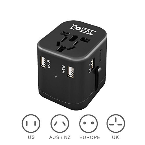 Foval Universal International Power Travel Adapter with 4.5A 4 USB Charging Ports...