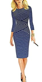 REPHYLLIS Women 3/4 Sleeve Striped Wear to Work Business Cocktail Pencil Dress