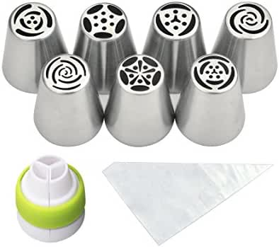 PALOTOP Russian Piping Tips 18-Pcs Set (7 Russian Tips 10 Disposable Pastry Bags 1 Tri-Color Coupler)
