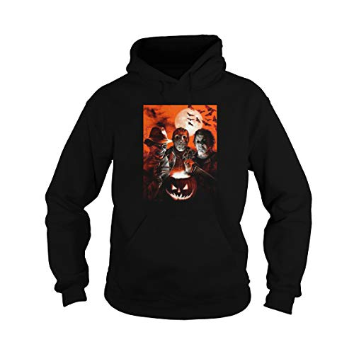 Unisex Super Villains Jason Voorhees Michael Myers Horror Movie Halloween Hoodie (XL, Black)