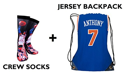 Forever Fanatics New York Carmelo Anthony  7 Ultimate Basketball Fan Gift Set Bundle   Anthony  7 Crew Socks Sizes 6 13   Matching Jersey Drawstring Backpack  Size 6 13  Anthony  7 Gift Set
