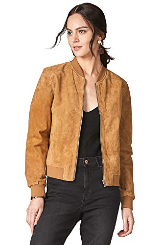 Escalier Women's Genuine Leather Jacket Zip up Suede Quilted Bomber Biker Coat Khaki ()