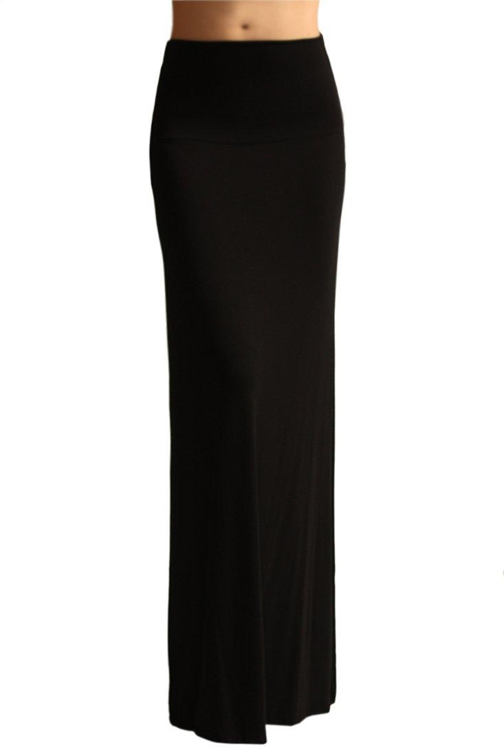 Azules Women'S Rayon Span Maxi Skirt - Black S