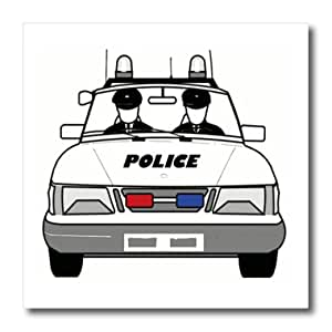 ht_39633_1 Florene Childrens Art - Police Car With 2 Policemen - Iron on Heat Transfers - 8x8 Iron on Heat Transfer for White Material