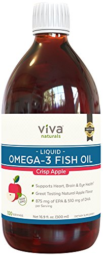 Viva Naturals Liquid Omega 3 Fish Oil Crisp Apple Flavor - Great Tasting & Burpless Flavored Fish Oil - 16.9 fl. oz (500 ml) (Flavor Crisps)