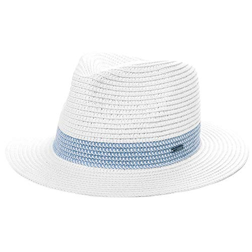 (Jeff & Aimy Mens Womens Straw Fedora Trilby Sun Hats UPF Wide Brim Foldable Summer Panama Safari Beach Sunhats Adjustable Medium 56CM White)