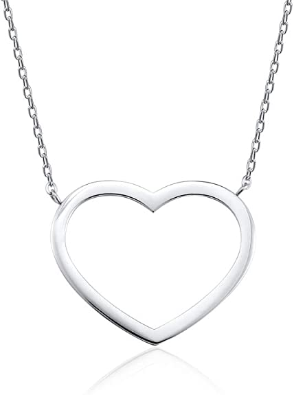 Seyaa Open Heart Pendant Necklace for Women Girls Silver Charm Dainty Stainless Steel Chain Necklaces Minimal Jewelry Friendship Gift 18''