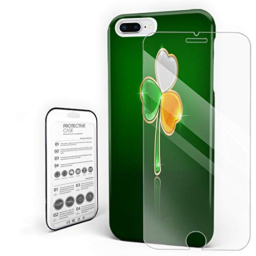 Phone Case for iphone 7 plus/8 plus Case Cover, St. Patrick's Day Lucky Irish Flag Color Clover Shamrock Finny Design, Protective Shockproof Anti-scratch Back Case with Tempered Glass Screen Protector
