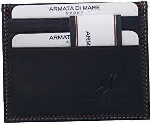Wallet man ARMATA DI MARE blue leather pocket credit card holder A5407