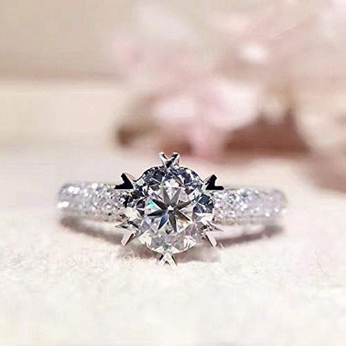 (Waldenn 2ct Round Cut Womens Unique White Cz 925 Silver Engagement Party Ring Size 4-9 | Model RNG - 26692 | 6)
