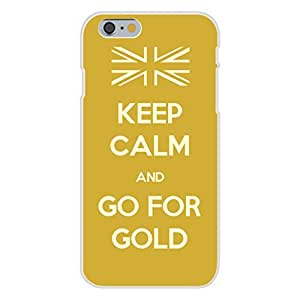 Apple iphone 4 4s Custom Case White Plastic Snap On - Keep Calm and Go For Gold w/ British UK Flag