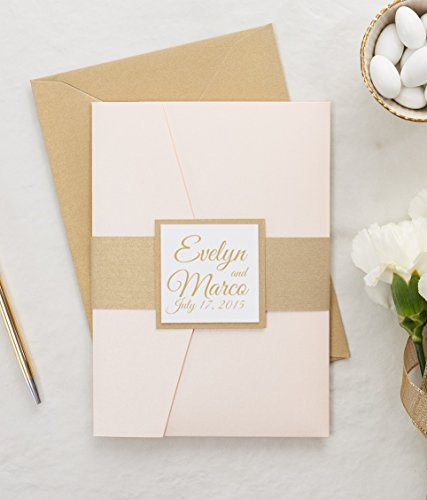 Blush and Gold Wedding Invitation, Pink and Champagne Wedding Invitation Set, Custom Wedding Invite, SAMPLE Evelyn Basic, Pocketfold Wedding Suite