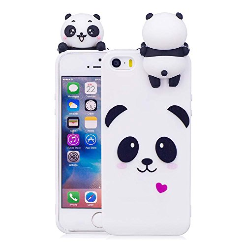 iPhone 5/5S/SE Case [Panda Series] Aeeque Ultra Thin [Slim Fit] 3D Cartoon Candy Color Soft TPU Silicone White iPhone 5SE Phone Case Bumper Shockproof iPhone 5 5S Protective Cover Gifts for Girls Boys