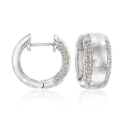 Ross-Simons 0.25 ct. t.w. Diamond Huggie Hoop Earrings in Sterling Silver