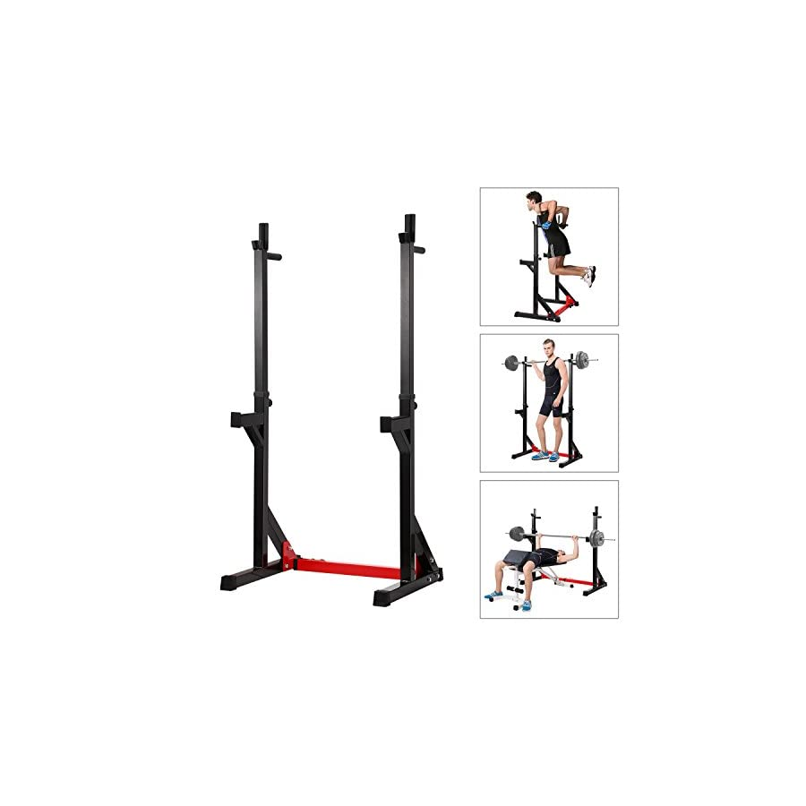 """Ollieroo Multi Function Barbell Rack Dip Stand Gym Family Fitness Adjustable Squat Rack Weight Lifting Bench Press Dipping Station, Height Range 40.6"""" to 64.2"""""""
