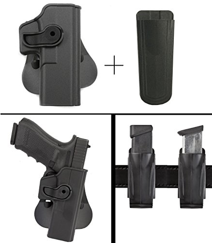 Sig Sauer Sigtac Glock 17 22 28 31 34 Gen 4 Compatible Rotates 360 Right Hand Paddle Holster, Black + Ultimate Arms Gear 9mm/.40/.45 Magazine Belt Clip Pouch Holder