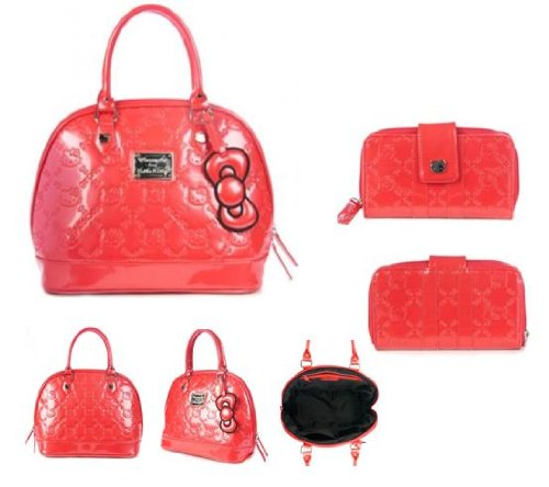 Hello Kitty Embossed Patent Wallet and Hand Bag Set - Poppy Red Color SANWA0569 / SANTB0966 ()