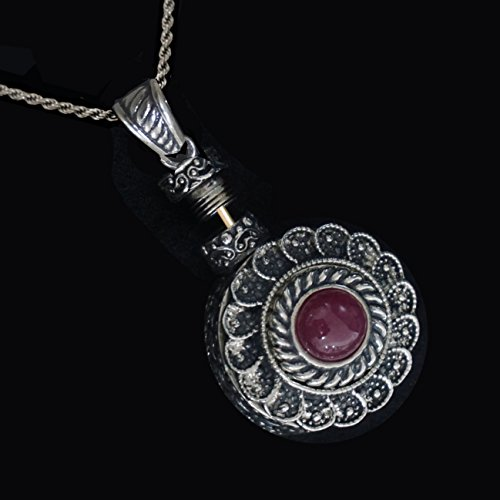 Rare Pendant Snuff. Perfume/ Snuff-Bottle. Artistic Handmade Work Sterling Silver 925. Set With A Smiling Gem Ruby. A Useful Spoon Is Attached Inside On A Sterling Silver Charming Chain. by Dr. Gavrielov