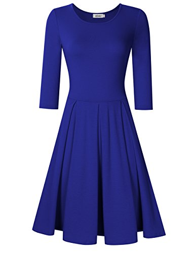 MISSKY Women Long Sleeve Round Neck A-Line Knee-Length Fit and Flare Swing Casual Vintage Dress (XS, Dark Blue Long Sleeve)