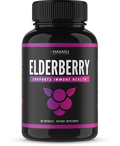Elderberry Capsules with Sambucus Nigra and Antioxidants for Added Benefits in Optimizing Immune Support; Non-GMO & Gluten Free; 60 Capsules for Men & Women -