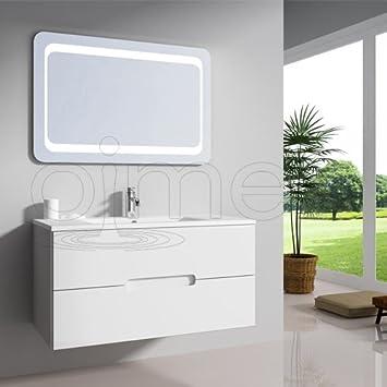 """OimexGmbH Design Badmöbel Set """"Tiana"""" Weiß Hochglanz Waschtisch 90cm ..."""