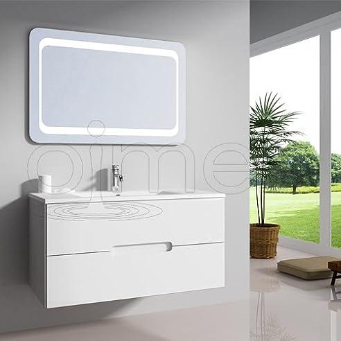 """OimexGmbH Design Badmöbel Set """"Tiana"""" Weiß Hochglanz Waschtisch ..."""
