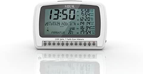 MIRAC Azan Prayer Nimaz Clock, Islamic Table Adhaan Reminder Gebetsuhr Otomatik Ezan Saati White