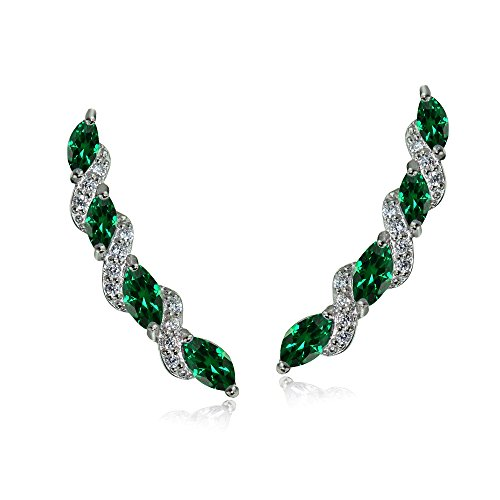 - Sterling Silver Simulated Emerald & White Topaz Twist Crawler Climber Hook Earrings