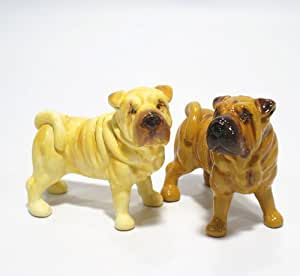 Shar Pei Dog Ceramic Figurine Salt Pepper Shaker 00006 Ceramic Handmade Dog Lover Gift Collectible Home Decor Art and Crafts