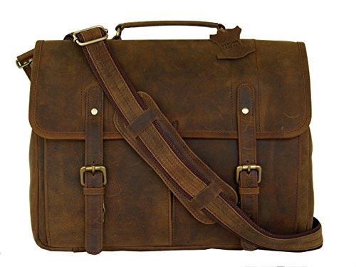 Full Grain Leather Messenger Laptop Bag by Basic Gear in Vintage Rustic Look.