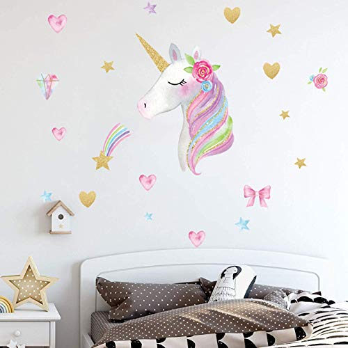 Party Room (Unicorn Wall Decals,Unicorn Wall Decor Stickers Birthday Gifts for Girls Kids Bedroom Decor Nursery Room Decor Home Party Favors (unicorn-02))
