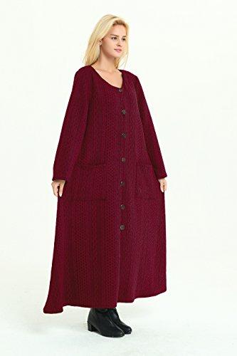 Anysize Printemps Robe En Coton Fait Main Automne Hiver Vêtements Taille Plus Bordeaux F39a