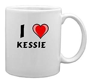 """Taza de cerámica con estampada de """"Te quiero"""" Kessie (nombre de pila/apellido/apodo)"""