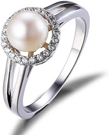 JewelryPalace Women's White 8mm AAA Quality Freshwater Cultured Pearl Ring Halo 925 Sterling Silver