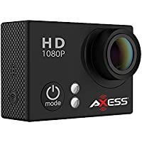 AXESS CS3604BK 1080p Full HD Wide Angle Lens Sports and Action Camera with Waterproof Housing and Accessories (Black)