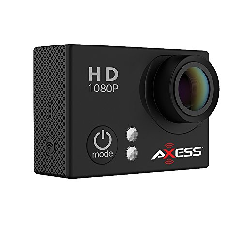 AXESS CS3604 1080p Full HD Wide Angle Lens Sports and Action Camera with Waterproof Housing and Accessories (Black)